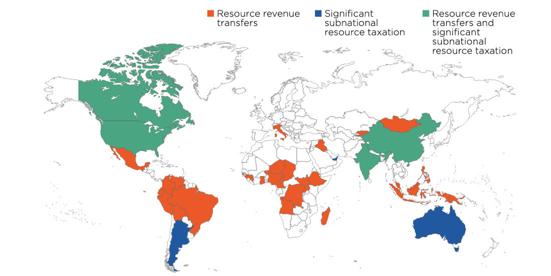 Map showing countries with natural resource revenue sharing mechanisms